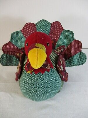 Hand Crafted Fabric Patchwork TURKEY Thanksgiving Decorator Table Centerpiece