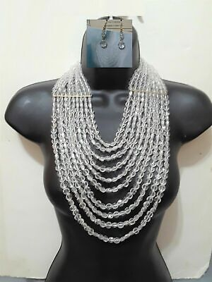 Statement Multi Bead Layer Necklace Chunky Strand Lucite Chain Clear Earrings Chunky Bead Necklace Earrings