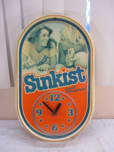 "Vintage SUNKIST Soda ""Good Vibrations"" Clock Advertisement 19"" Tall WORKS GREAT"