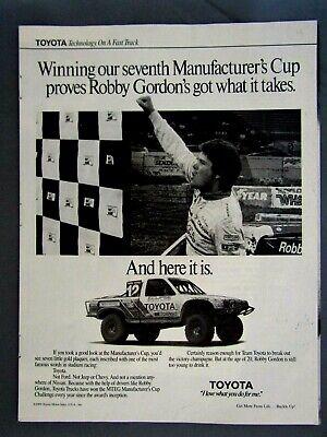Robby Gordon 1989 Toyota Racing Original Print Ad 8.5 x 11