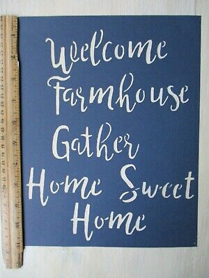 NEW Primitive WELCOME FARMHOUSE GATHER HOME SWEET HOME new calligraphy STENCIL - Calligraphy Stencil