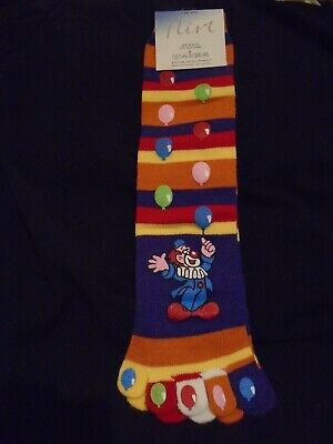 Colourful 5-finger Striped toe socks with clown motif One Size no heel