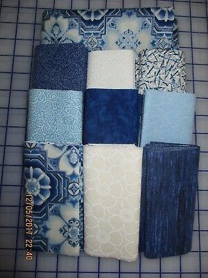 Awesome Metallic Silver, Blues & Cream Disappearing 9 Patch Quilt Top Kit