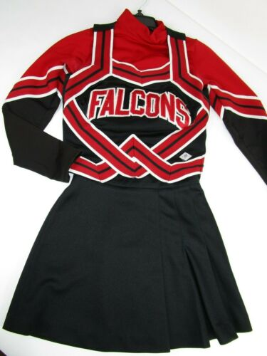 "3 Piece FALCONS Cheerleader Uniform Outfit 32"" Top 24 Skirt Adult Sm Red Black"