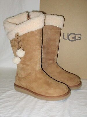 Used, NEW NIB WOMENS SIZE 8 CHESTNUT UGG PLUMDALE CUFF SUEDE SHEARLING LINED BOOTS for sale  Ventura