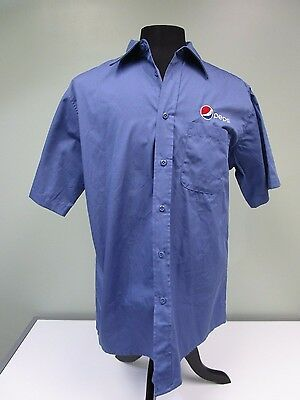 Pepsi Uniform Work Shirt Aramark Embroidered Logo Button Down Blue Mens L Euc