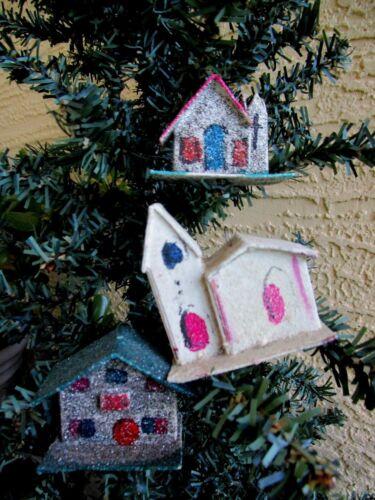 VINTAGE 3 PUTZ & MICA BLACK GLITTER HOUSE & CHURCHES CHRISTMAS ORNAMENTS JAPAN