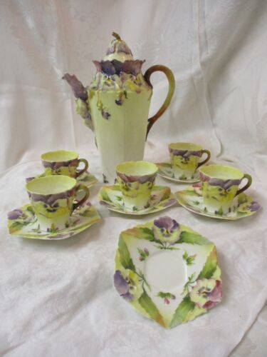 Antique France Choisy-Le-Roi Majolica Hot Chocolate Pot 5 Cups 6 Saucers Pansies
