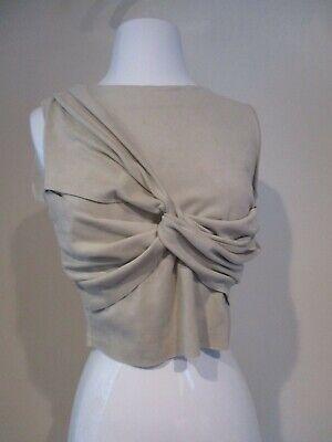 ZARA BASIC tan ultra suede stretch draped cropped blouse shirt top sz M