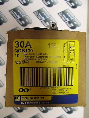 Square D Qob130 30 Amp 120 Volt Yellow Circuit Breaker 1 Box Of 10- New