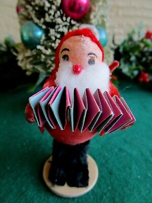 VINTAGE LRG SPUN COTTON ELF/GNOME HOLDING DRESDEN PAPER ACCORDION XMAS ORNAMENT