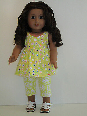 "Tiny Yellow Flowers/Yellow & White Leggings for 18"" Doll Clothes American Girl"