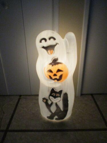"RARE Vtg Happy Ghost Holding Pumpkin Black Cat Lighted Halloween Blow Mold 33"""