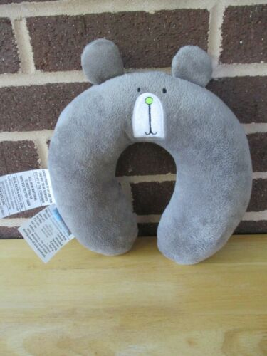 On the Goldbug Neck Roll Travel Pillow Toddler Neck Support Gray Bear Look Plush
