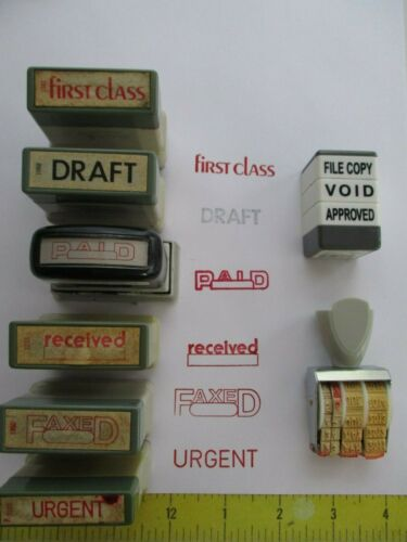 8 Office Message Rubber Stamp / first class / paid / urgent / void