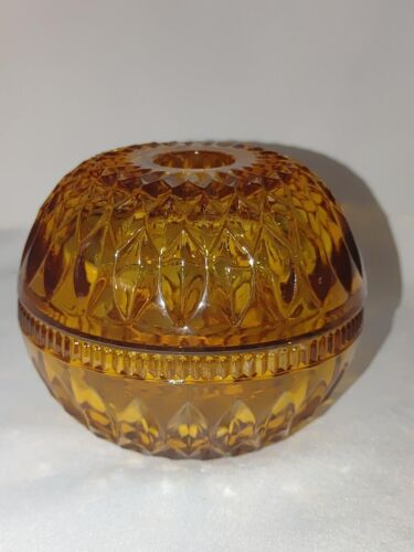 Vintage Indiana Glass Diamond point Mount Vernon AMBER Round Fairy candle lamp
