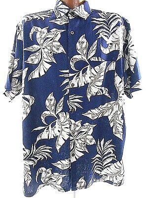 Palm Fron Mens Linen Blend Short Sleeve Button Front Shirt (Palm Fron)