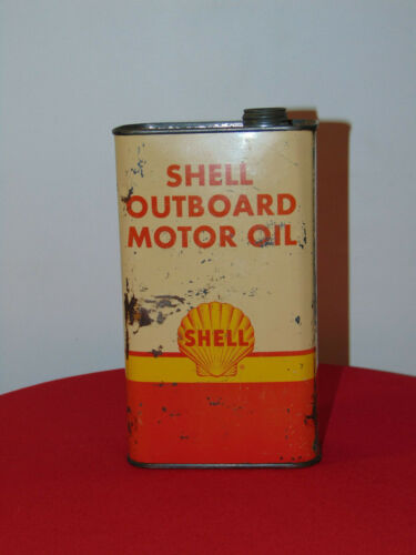 VINTAGE SHELL OUTBOARD MOTOR OIL CAN 5 HALF PINTS
