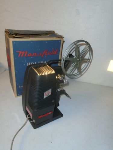 Vintage Mansfield Holiday M-1000 8mm Movie Projector w/ Original Box - Tested