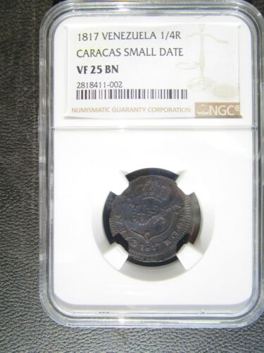 1817 Venezuela Caracas 1/4 Real, Small Date, NGC VF 25