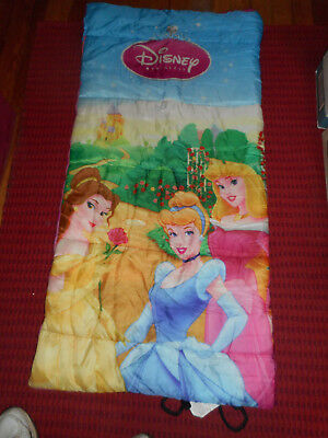 "DISNEY Princess Sleeping Bag EXXEL OUTDOORS Pink Girls Camping 57"" x 28"" Used 1x"