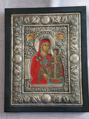 Holy Mother of God - Greek Byzantine Icon Silver 925 Big Icon!!!