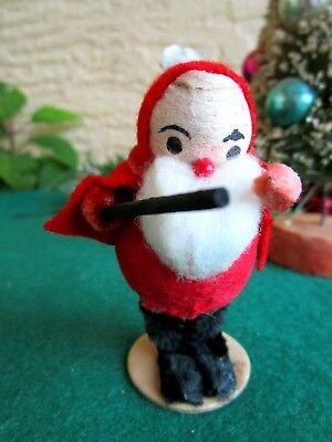 VINTAGE LRG SPUN COTTON ELF/GNOME HOLDING BATON CHRISTMAS ORNAMENT