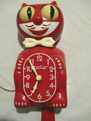 VINTAGE RARE RED ELECTRIC-KIT CAT FELIX KLOCK-CAT CLOCK- ALL ORIGINAL -WORKS +