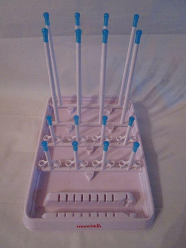 Munchkin Baby Bottle Foldable Drying Rack White with Blue tips Holds 16 Bottles