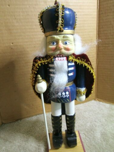 """HOLIDAY WOODEN NUTCRACKER SOLDIER W/ STAFF CAPE, CROWN 12"""" BEAUTIFUL FACE LOOK"""