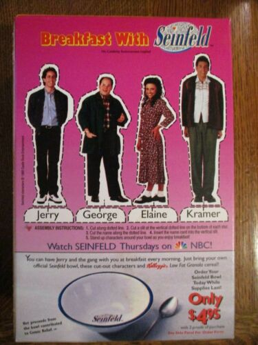 RARE NBC 1994 BREAKFAST WITH SEINFELD UNOPENED CEREAL BOX NOS CASE FRESH