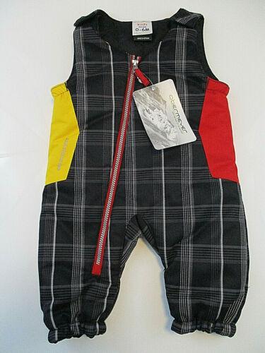 OBERMEYER Bib Overalls Insulated Pants Boys Sz 6 mos Black Infant Snowpants NWT