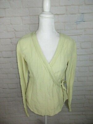 J.Jill women's size XS Hemp and Silk Wrap Top Green Ruffle Neck Tie Side