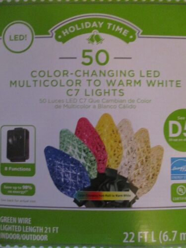 HOLIDAY TIME 50 LED 8-FUNCTION COLOR CHANGING MULTI TO WARM WHITE C7 LIGHTS -NEW