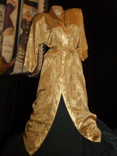 Gold Satin Robe Kimono Silky Paisley Jacquard 3/4 Sleeve