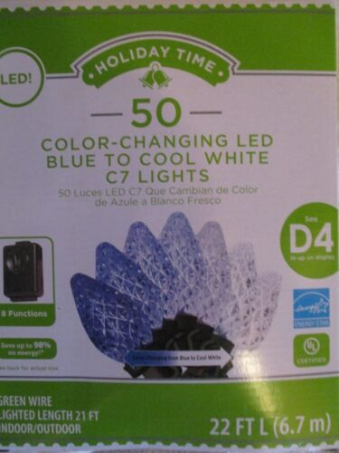 HOLIDAY TIME 50 LED 8-FUNCTION COLOR CHANGING BLUE TO COOL WHITE C7 LIGHTS -NEW