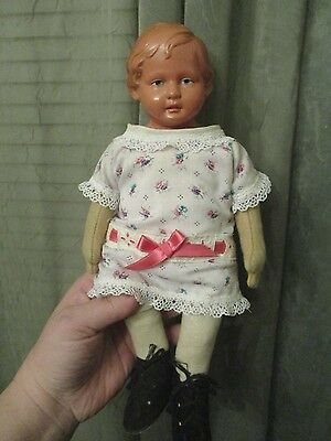 VINTAGE GERMANY TURTLE MARK GIRL DOLL CELLULOID HEAD CLOTH BODY 11 1/2""