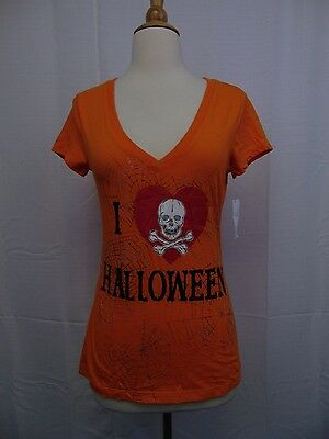 I Love Halloween Women's V-Neck Graphic Glitter Tee-Shirt Orange XL #1628](Glitter Graphics Halloween)