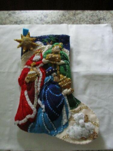 "Finished/Completed Bucilla 18"" Felt Christmas Stocking - ""THREE KINGS"
