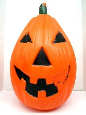 Vintage Halloween Lighted Blow Mold Jack O Lantern Pumpkin yard decor 22 inches