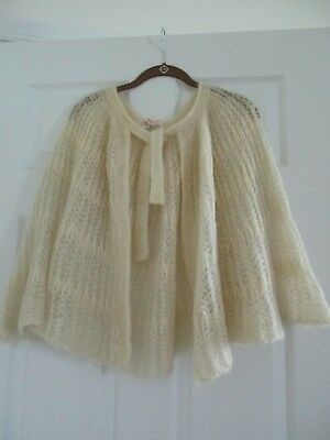 Vintage Mantessa Off White (Yellowed) Crocheted/Knitted? Wool Cape Made in Italy