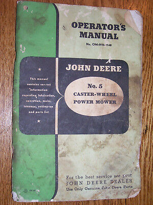 Vintage John Deere Operators Parts Manual- 5 Power Mower