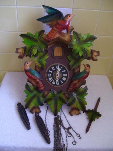 Vintage Painted German Wall Cuckoo Clock - 7 Leaves + 3 Red & Blue Birds-Perfect