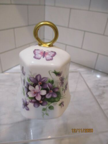 Vintage Aynsley WILD VIOLETS Hand Bell Fine Bone China Made in England