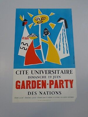 AFFICHE ARAMA WAGNIEN GARDEN PARTY  CITE UNIVERSITAIRE LITHOGRAPHIE 35X54cm