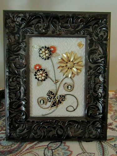 Jewelry Art;  Fall arrangement with flowers, insects, and bow. Framed.