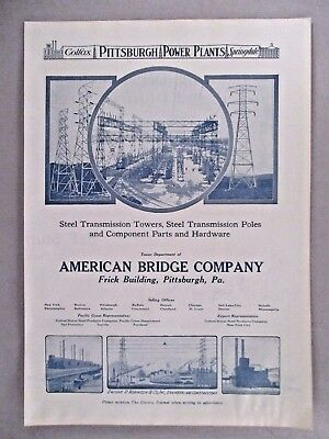 American Bridge Company PRINT AD - 1921 ~~ electric power plant
