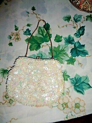 1930s Handbags and Purses Fashion RARE 1930's/40's HANDMADE HONG KONG WHITE BEADED&SEQUINED SMALL ELEGANT PURSE $12.95 AT vintagedancer.com