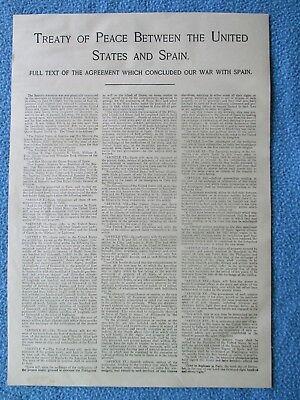 1899 Spanish American War Print - Treaty Of Peace Between United States & Spain
