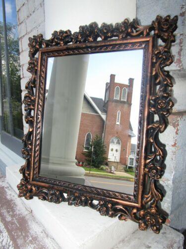 """Vintage Ornate Bronze Mirror Dart Industries MCMVIII  13"""" x 11"""""""